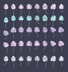 set color monstera leaves silhouettes leaf vector image