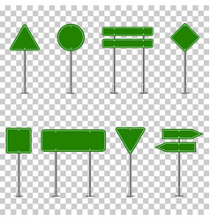 set green traffic signs on transparent vector image
