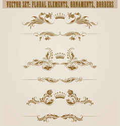 set of filigree damask ornaments floral golden vector image