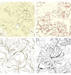 set seamless floral wallpaper vector image