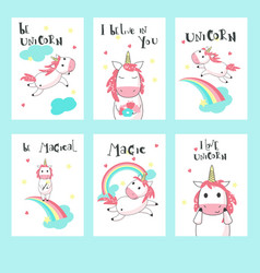 set unicorn greeting invitation cards vector image
