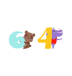 Six and four numbers with cute bear and hippo vector