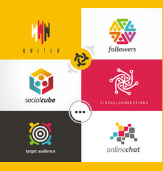 social media set of logos symbols and design vector image