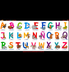 spanish alphabet with cartoon animals set vector image