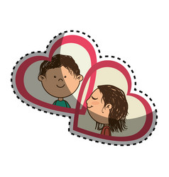 sticker color silhouette with her and him in vector image