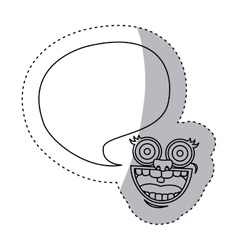 Sticker contour face cartoon gesture with dialog vector