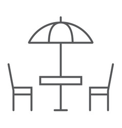 street cafe thin line icon table and chair vector image