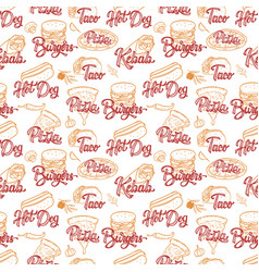 Street food seamless pattern kebab taco burger vector