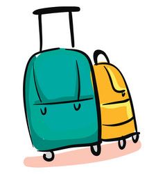 suitcase hand drawn design on white background vector image