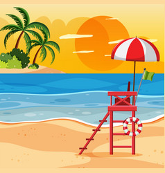 Summer beach sunset landscape vector