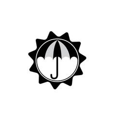 Sun umbrella protection symbol vector