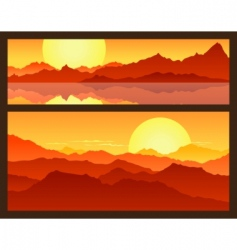 sunrise in the mountains vector image