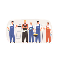team workers with tools and equipment for home vector image