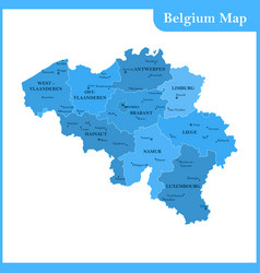 The detailed map of the belgium vector