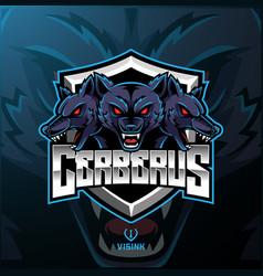 three headed cerberus mascot logo design vector image