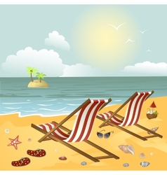 Two chaise longue on the beach vector image