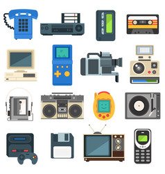 Vintage technologies camera phone retro audio icon vector