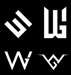 w and g letter based set symbol vector image