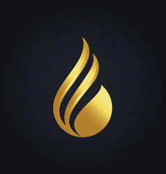 Water drop abstract gold logo vector
