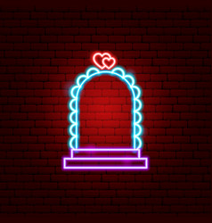 Wedding arch neon sign vector