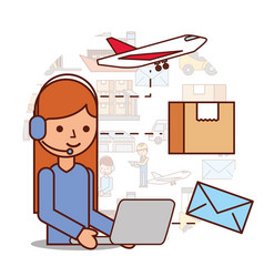woman operator logistic headset and box envelope vector image