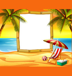 wooden frame blank space with the sunset beach vector image