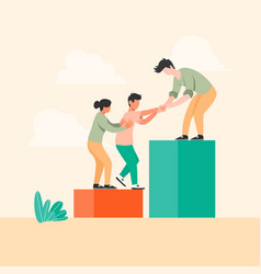 worker helping each other for business group vector image