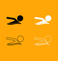 a man swims black and white set icon vector image