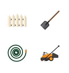 Flat icon garden set of shovel wooden barrier vector