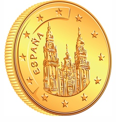 gold money Spanish coin euro vector image vector image