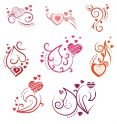 ornate design elements with hearts vector image