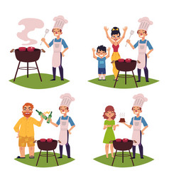 people make bbq barbeque cook meat on grill vector image