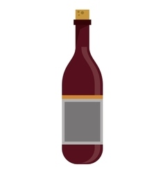 red wine bottle with cork empty label vector image vector image