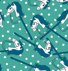 Seamless pattern of toy horses vector image vector image
