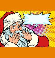 surprised reaction santa claus christmas vector image vector image