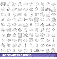 100 smart car icons set outline style vector image vector image