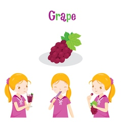 Girl With Grape Fruit Juice Ice Cream And Letter vector image vector image