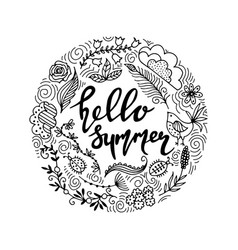 Hand drawn summer themed phrases modern style vector