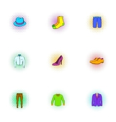 Material icons set pop-art style vector image vector image