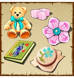 Set of toys and hobby items for girls five images vector image vector image