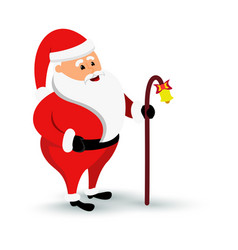 christmas smiling santa claus character is coming vector image