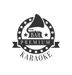 Gramophone In Round Frame Karaoke Premium Quality vector image vector image