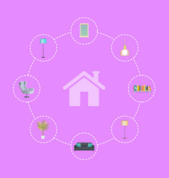 interior design elements in circles around house vector image vector image
