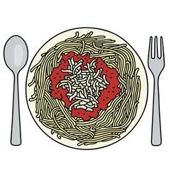 Spaghetti on the plate vector