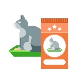 Angry cat on the toilet as commercial vector image