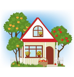 house and apple trees vector image