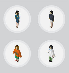 Isometric person set of doctor policewoman lady vector
