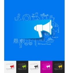 megaphone paper sticker with hand drawn elements vector image