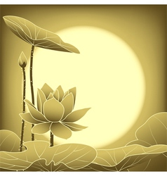 Oriental Mid Autumn Festival Lotus Flower vector image