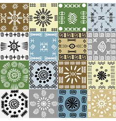 Tribal motifs background in squares vector image